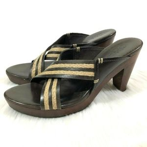 Cole Haan Strappy Heel Sandal Wood Leather Jute